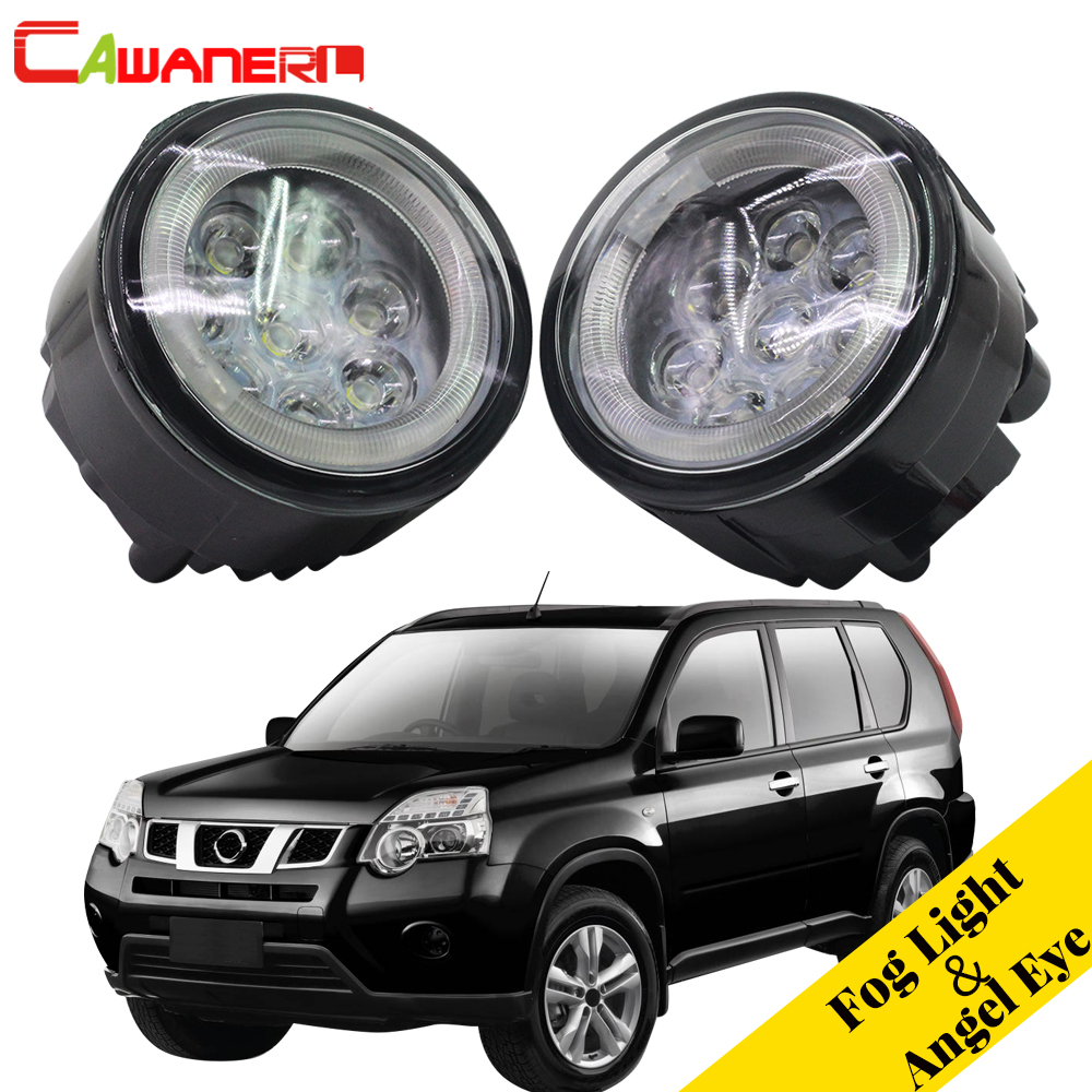 Cawanerl Car LED Fog Light Angel Eye DRL Daytime Running Light 12V For Nissan X-Trail T31 Closed Off-Road Vehicle 2007-2013 2pcs for car styling fog lights nissan x trail t31 closed off road vehicle 2007 2014 halogen lamps 26150 8990b