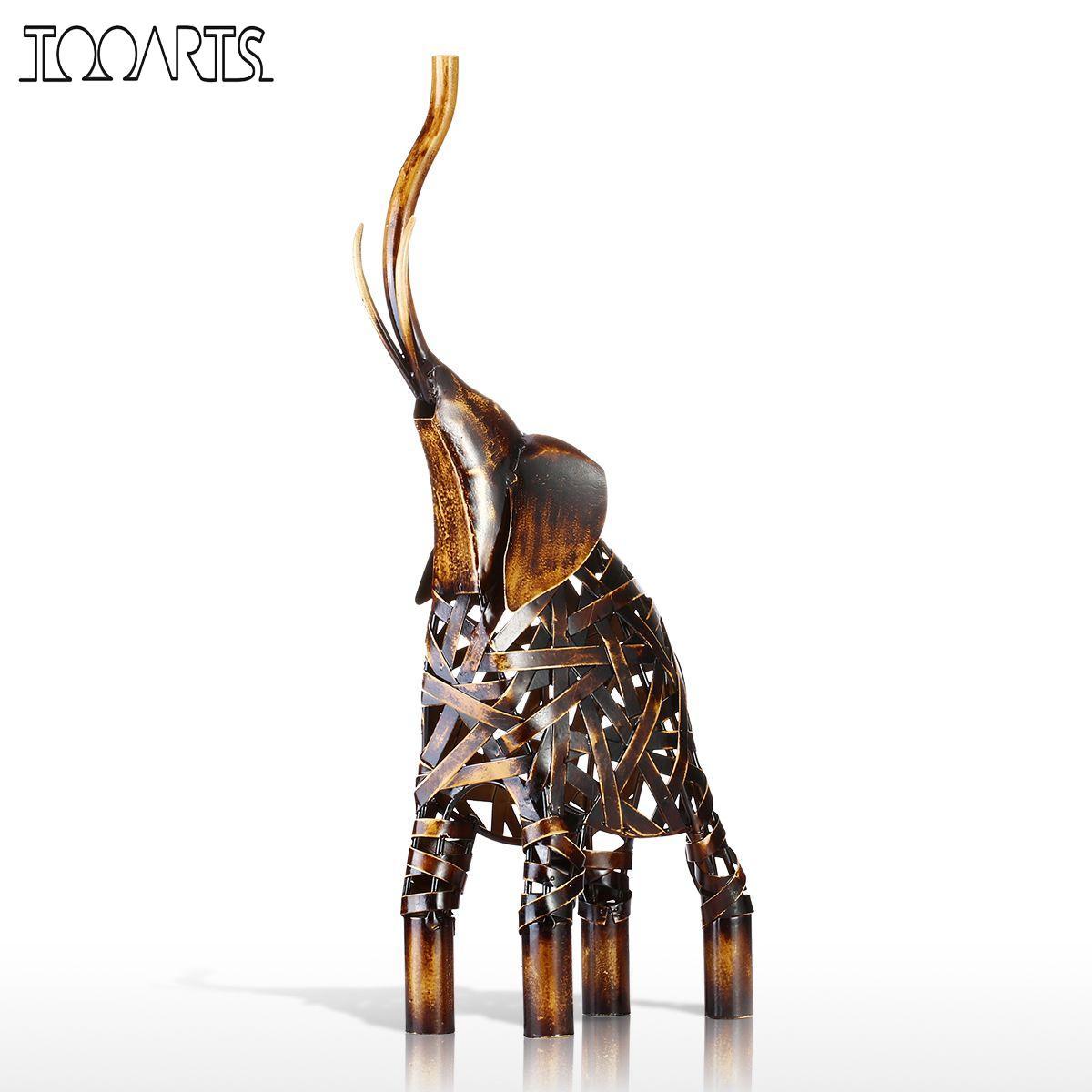 Tooarts Tissage de Métal Éléphant Figurine Fer Figurine Décor À La Maison Artisanat Animal Artisanat Cadeau Pour La Maison Bureau