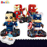 New 2.4G RC Robot DIY Assembled Rc Square Head Electric Robot 358PCS/SET For Kids Model Mini Smart Robot Battle Toys Boys Gifts