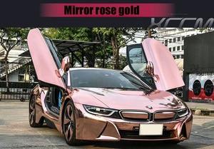 Image 5 - החדש גבוהה stretchable מירור רוז זהב כרום מראה גמיש ויניל לעטוף גיליון רול סרט רכב מדבקת מדבקות גיליון