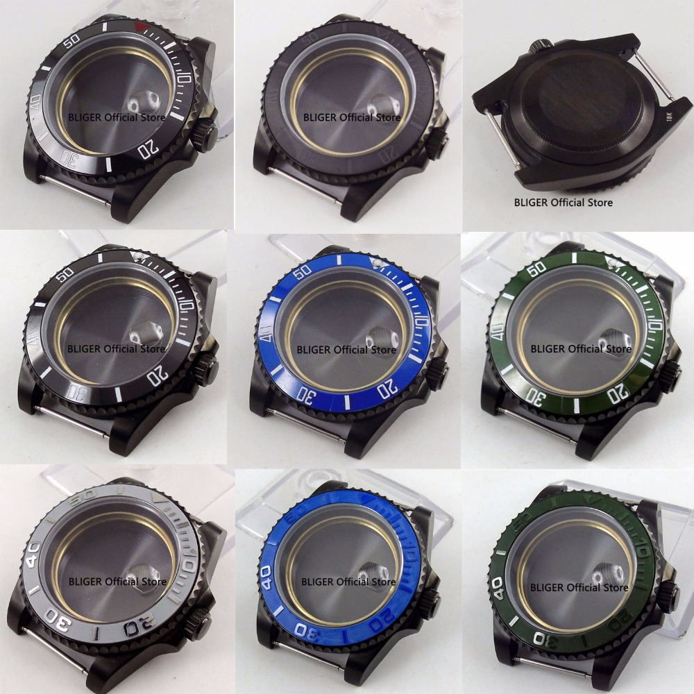 8 Models PVD Plated Watch Case Mens Watch Parts Sapphire Crystal 40MM Fit For MIYOTA Automatic Movement 8 Models PVD Plated Watch Case Mens Watch Parts Sapphire Crystal 40MM Fit For MIYOTA Automatic Movement