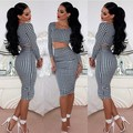 Sexy Womens Houndstooth Long Sleeve Tops 2pcs Set Midi Dress Bodycon Clubwear