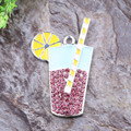 Free Shipping 10pcs/lot Cordial Custom Design Rhinestone Chunky Necklace Summer Drinks Character Alloy Pendant
