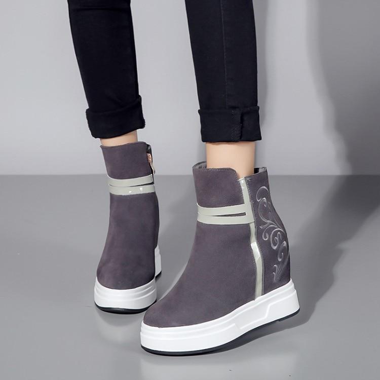 Noir Chaussures Hauts Poursuivi Hauteur gris {zorssar} forme Coins Bottes D'hiver 2018 Croissante En Cuir Femmes Cheville Talons Plate PxqzBa