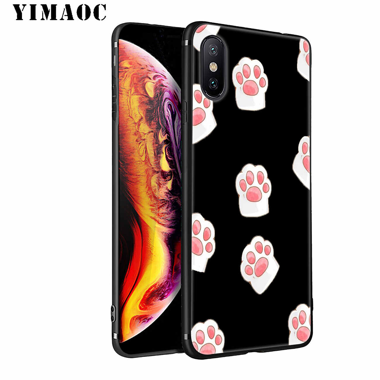 YIMAOC Paw สุนัข Husky pug น่ารักซิลิโคนสำหรับ iPhone 11 Pro XS Max XR X 6 6S 7 8 Plus 5 5S SE 10 TPU ฝาครอบสีดำ