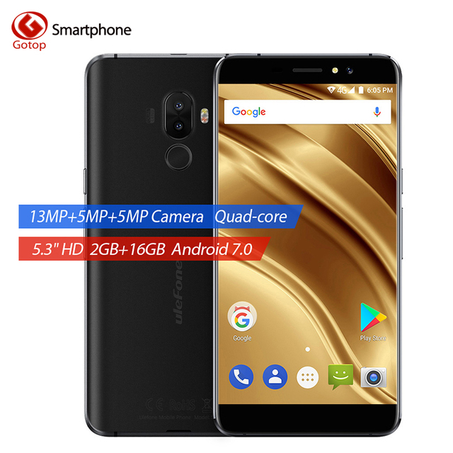 Ulefone S8 Pro MT6737 Quad Core Cell Phone 5.3 Inch Android 7.0 Smartphone 2GB RAM 16GB ROM Dual Back Camera 4G LTE Mobile Phone