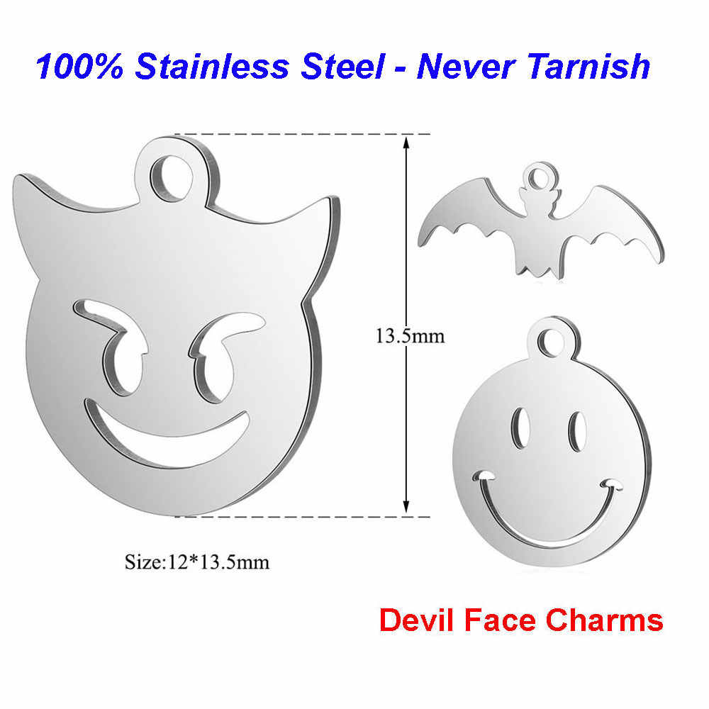 10pcs/lot 100% Stainless Steel Devil Face Charms VNISTAR High Polished Emoji Smile Halloween Bat DIY Jewelry Finding Supplies