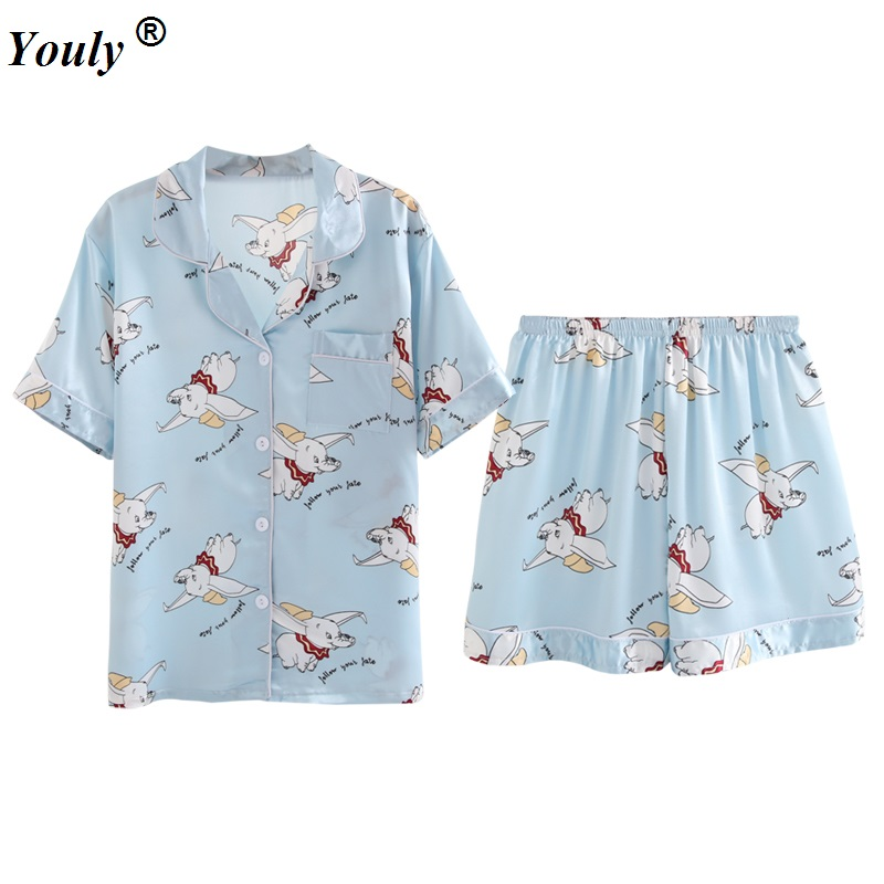 Dumbo Print Silk   Pajama     Sets   2019 Summer Women's Female Faux Silk Two Pieces Shirts and Shorts Pants Nighties Sleepwear Homewear
