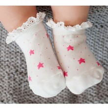 High quality! 3 pairs of spring and summer new baby girl lace socks cotton socks 0-2 years old baby socks cute star pattern