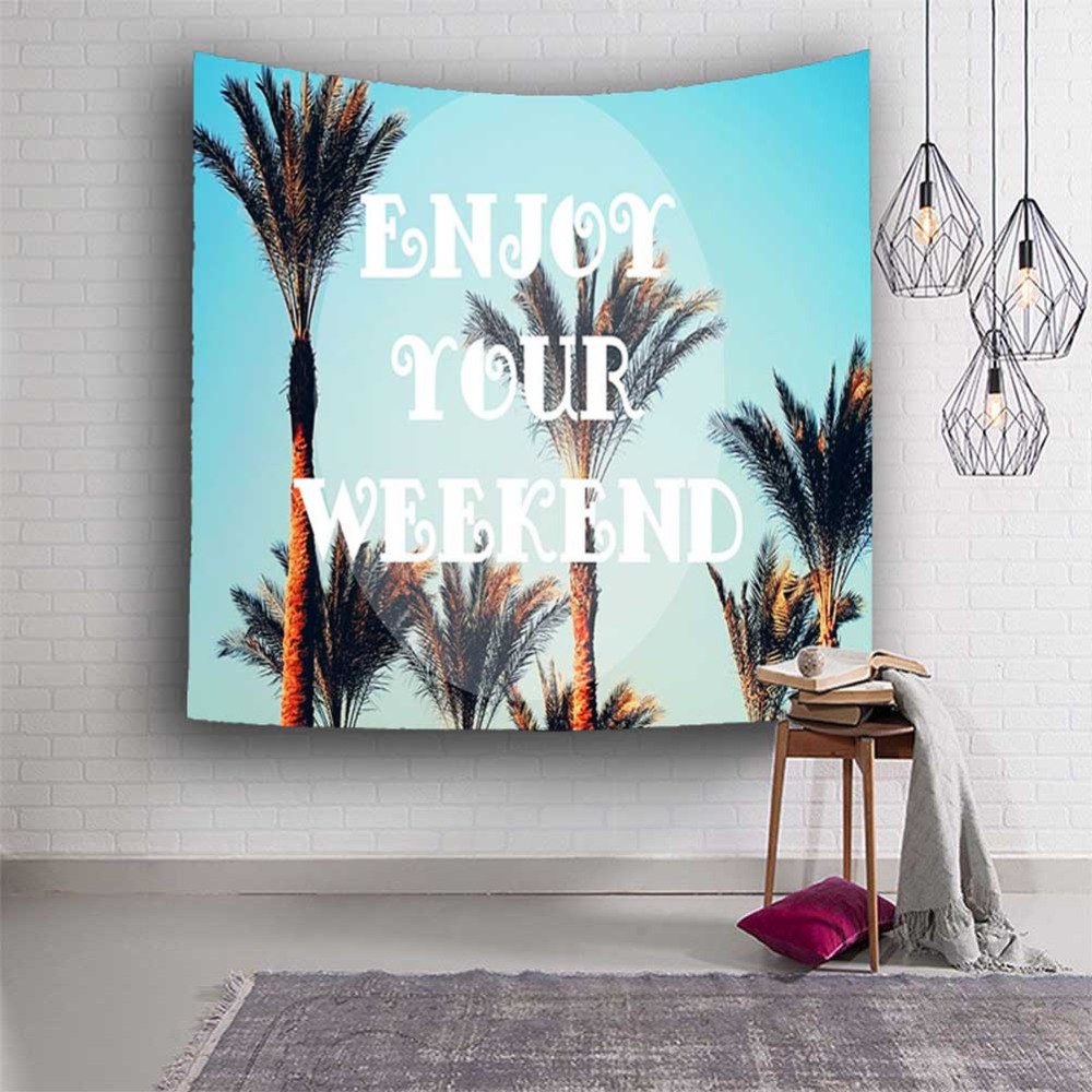 Polyester Tropical Plant Pattern Wall Cloth Hanging Tapestry Wedding Party Gift Bedspread Beach Towel Yoga Picnic Mat Home Decor