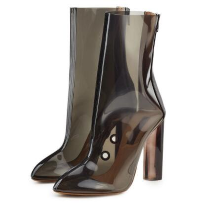 2018 spring and summer new women PVC pointed toe high heel ankle boots Ladies super high chunky heel short boots Fashion boots women brogue pattern ankle boots platform chunky heel ladies fleeces 2018 round toe super high heel spring winter wide shoes