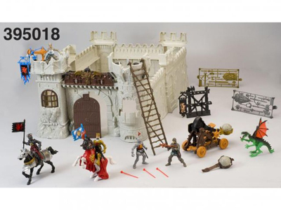 plastic Medieval European Castle Attack and Defense Ancient Soldier Knight Dragon Castle Toy castle and knight