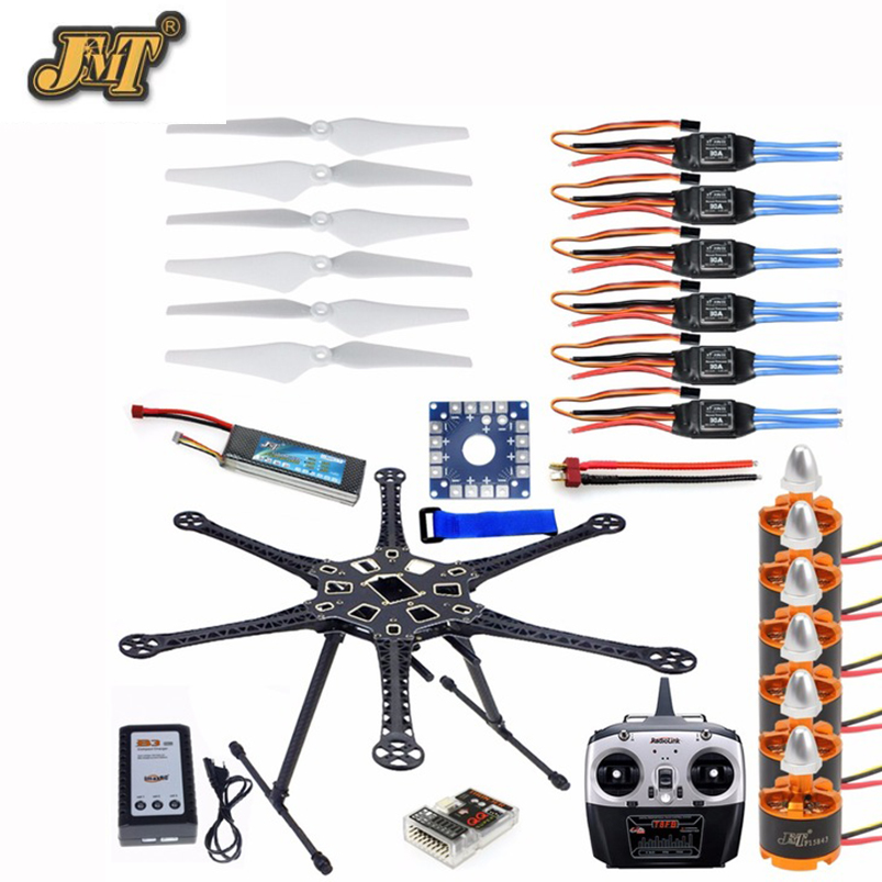 JMT HMF S550 F550 Hexacopter Frame Kit with Landing Gear +ESC Motor Welded+QQ SUPER Control Board+RX&TX+Propellers f08618 b hmf s550 f550 hexacopter 6 axis frame kit with landing gear esc motor welded qq super control board rx
