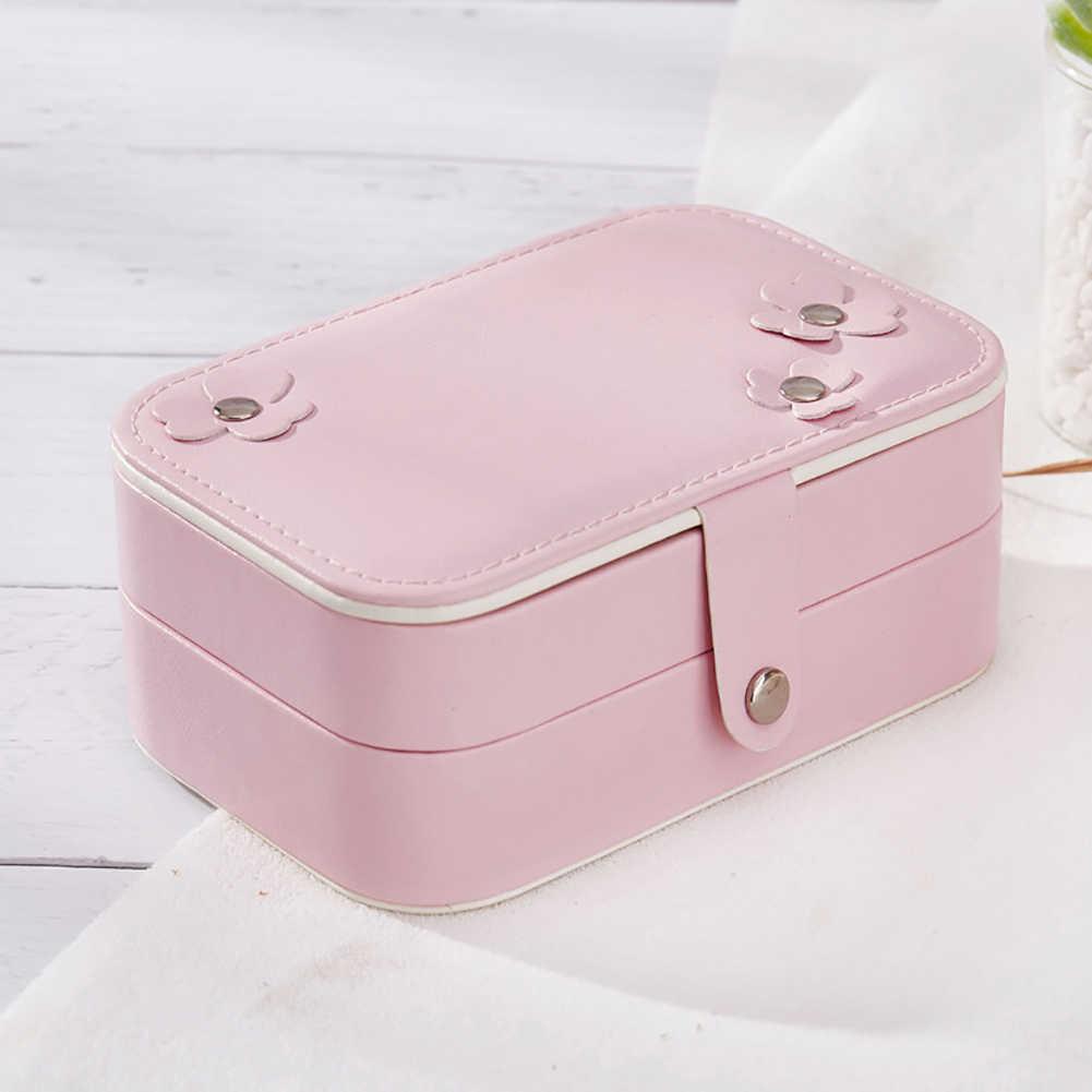 Caja para cosméticos y joyería de doble capa collar anillo de viaje espejo almacenamiento bolsa caliente