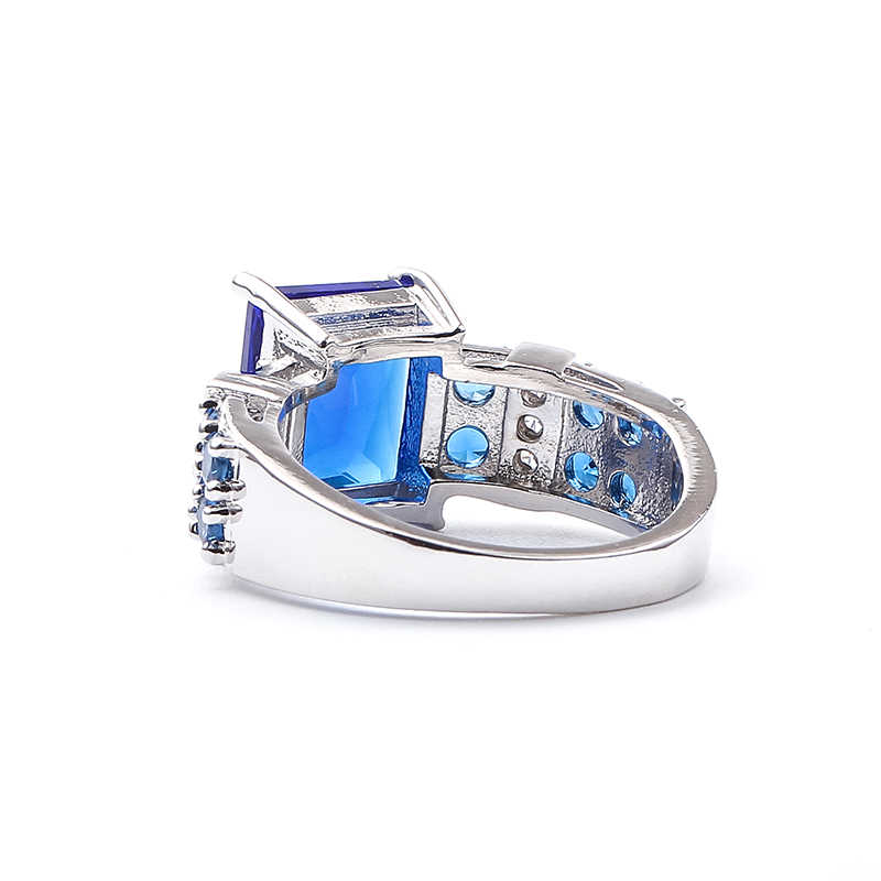 Maxi Punk สี่เหลี่ยมผืนผ้าสีม่วงสีเขียวสีฟ้า Zircon แหวนหญิงแหวนแฟชั่นเครื่องประดับ anillos แหวนสตรีขายส่ง