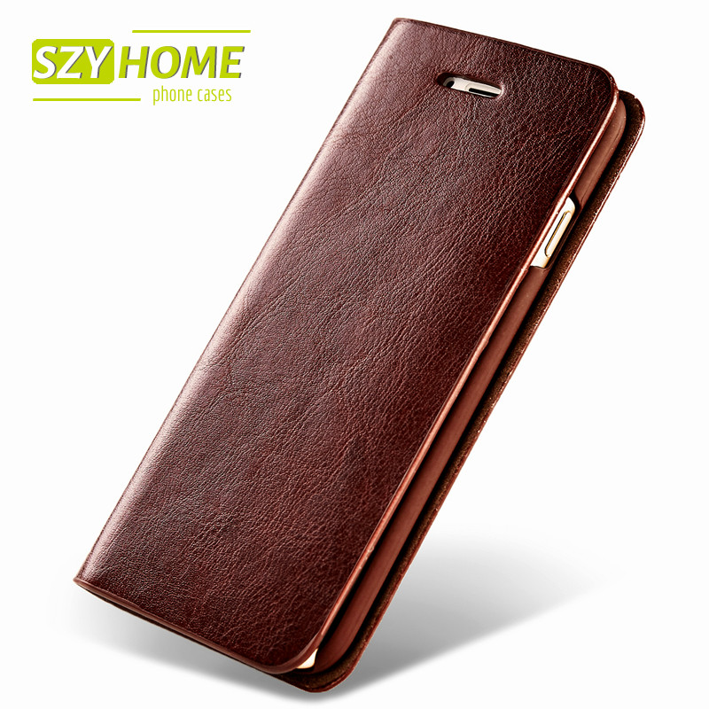 SZYHOME Phone Cases for IPhone 6 6s 7 Plus 4 4s 5 5s SE 5C Luxury Retro Real Genuine Leather Wallet Flip Cover Case Capa Coque