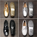 США 6-11 EUR 45 Лакированной Кожи Мужские Кисточка Скольжения на Случайные Вождения Лодки Обувь Металл Панк Loafer Платье обувь