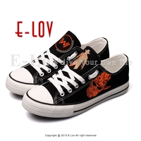 E LOV Customized Low Top Casual Canvas Shoes Men Boys West World Printed Flat Walking Leisure