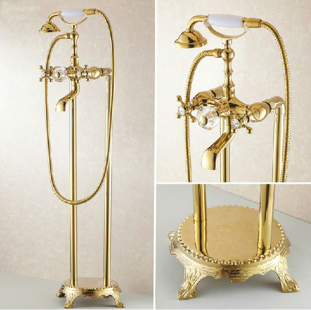 Bathtub Faucets Bathroom Gold Floor Stand Faucets Telephone Type Bath Shower Mixer Brass Shower Set Luxury