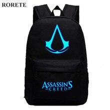 Assassin's Creed Световой печати рюкзак Glow сумки 5 цветов холст печати школьные сумки для подростков рюкзак