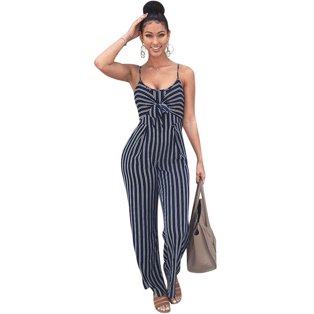 49e55e8f2657 Elegant Striped Sexy Spaghetti Strap Rompers Womens Jumpsuit Sleeveless  BacklessBow Casual Wide legs Jumpsuits Leotard Overalls