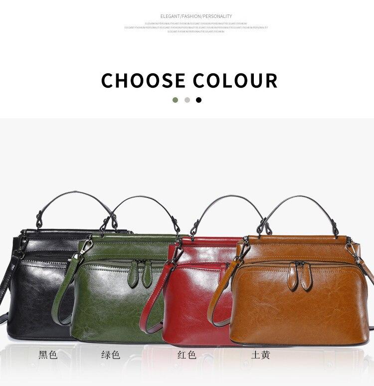 New Trend Oil Wax Leather Zipper Handbag Fashion Quality Hardware Shoulder Diagonal Bag Simple Wild Casual Large Capacity Bags qiaobao 2018 new korean fashion leather handbag trend of women s shoulder bag diagonal cross flow totes