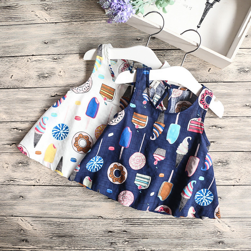 Lollas Summer Models Girls Color Ice Cream Printing Vest Childrens Clothing Cotton Linen D