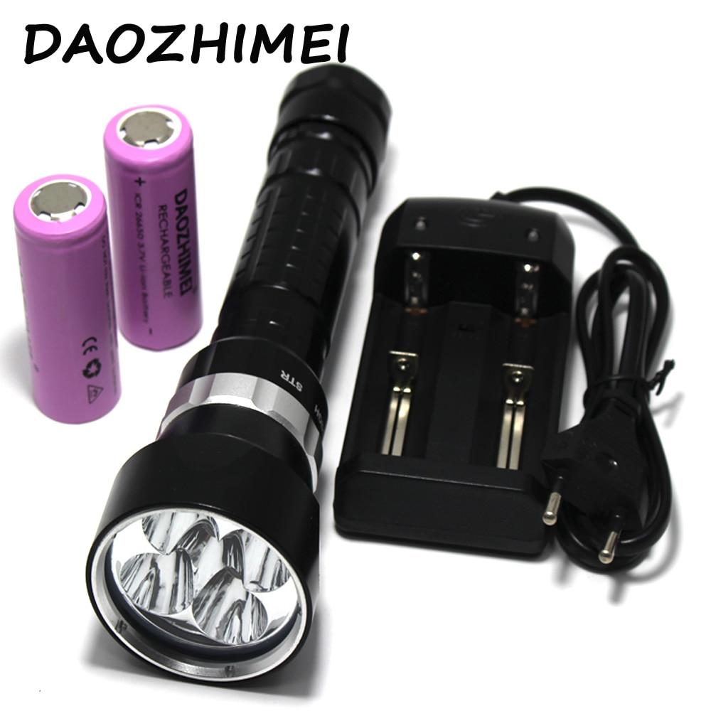 15000LM Подводные Погружения свет светодио дный фонарик 5 * L2 Дайвинг лампы факел Водонепроницаемый освещения Фонари + 2x6800MA 26650 Батарея + зарядно...