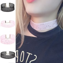 Vintage Geometric Embroidered Lace Neckband Collar Necklace Women Fashion Choker Jewelry 3 Colors