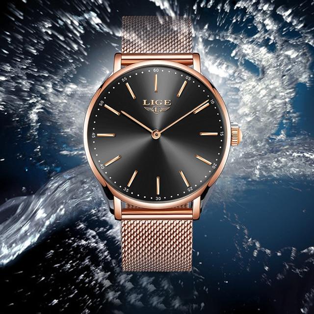 2020 LIGE New Rose Gold Women Watch Business Quartz Watch Ladies Top Brand Luxury Female Wrist Watch Girl Clock Relogio Feminin 6