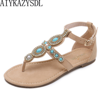 0c6ba53d8c47 AIYKAZYSDL 2018 Summer Ethnic Bohemia Sandals String Bead Crystal Sandals  Flat Heel Shoes Thong Ankle Strap