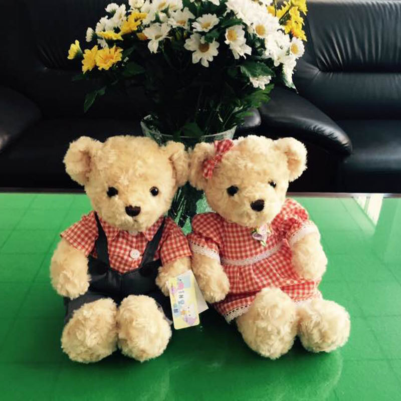 (A pair) 30CM Kawaii Teddy Bear Plush Toy Stuffed Couple Bears Soft Kids Toys Baby Huggable Dolls Children Girls New Year Gifts