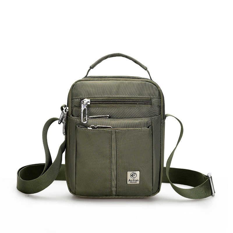 8bae6147448e Waterproof Nylon Small Flap Messenger bag For Men Black Casual Shoulder  Bags Men s Satchel England Style