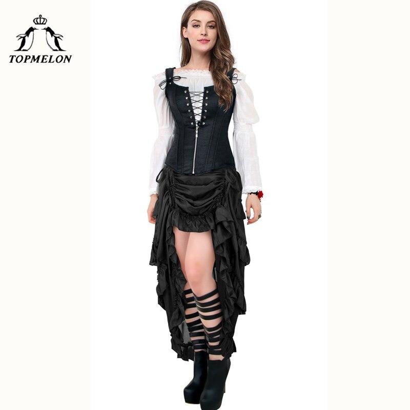 TOPMELON Womens Gothic Skirt Female Skirt Vintage Long Steampunk Skirt Elastic Ruffles Plated Shows Club Dance Corset Skirts