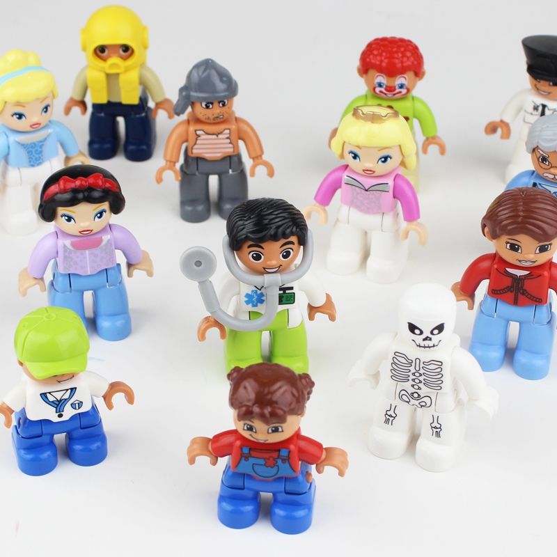10pcs People Pirates Princess Firefighter Police Blocks Big Size Action Figure Gift Toys Compatible LegoINGly Duploe