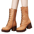 Vintage moda coxa botas altas inverno quente impermeável genuína mulheres de couro Martin botas de montaria botas sapatos de mulher BT58