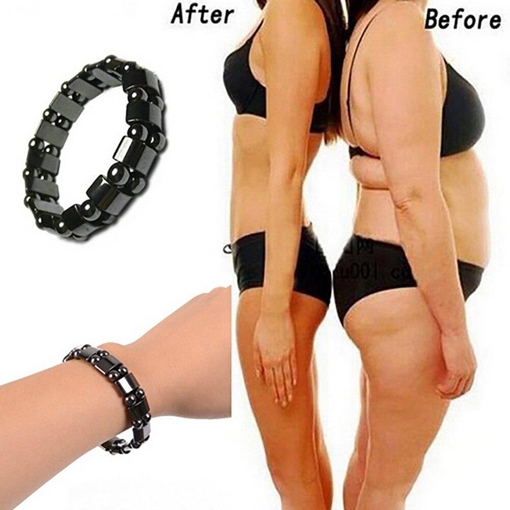 Poids Perte Rond Noir Pierre Thérapie Magnétique Bracelet Pour Femmes Hommes Soins de Santé Magnétique Hématite Stretch Bracelets 2018