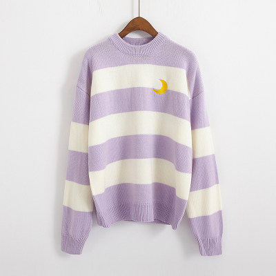 Women's Sweaters Kawaii Ulzzang College Candy Color Stripes Moon Sets Embroidery Sweater Female Harajuku Clothing For Women Lady 6