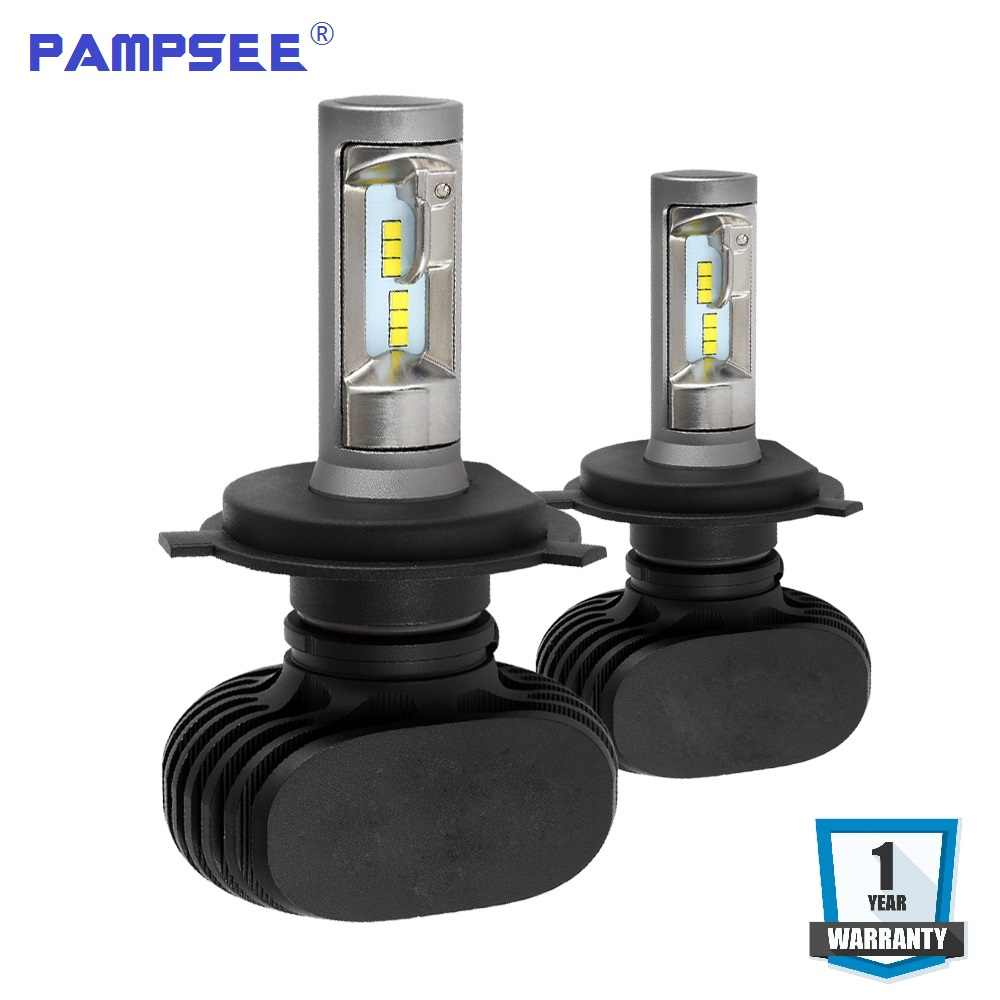PAMPSEE S1 H4 H7 9005 9006 H11 LED Car Headlight Bulbs Auto LED Head Lamp Hi-Lo Beam 50W 8000LM 6500K 12V 24V Offroad 4x4 truck