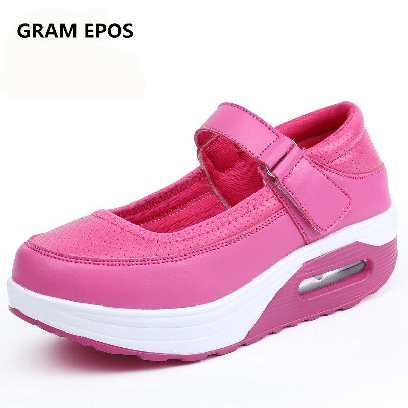 GRAM EPOS Womens Air Cushion Creepers Shoes Female 5 CM Height Increase Loafers Ladies Platform Solid NURSE high heels PUMPS