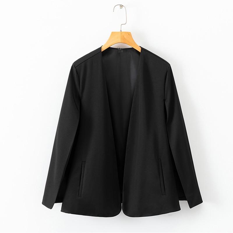 Black Streetwear Cloak Open Front Blazer Elegant Workwear Coats Outerwear