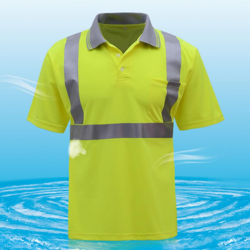 High visibility reflective safety short sleeves polo t shirt tshirt men breathable fabric with heated reflective tapes floral spliced turn down collar short sleeves polo t shirt for men