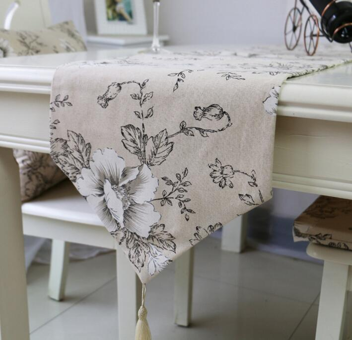 Fyjafon Table Runner Linen Table Cloth Table Runner Dining Table Decoration White Peony 32 160 32