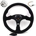 "LA racing-14"" (350mm) Mugen Steering Wheel Suede Leather red line Steering Wheel Flat Mugen Racing Steering Wheel"