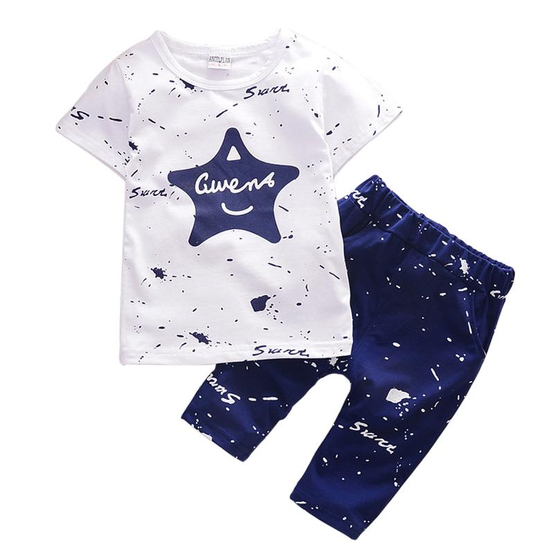 Summer Boys Clothes 2018 New Star Shirts Shorts Cotton Kids Suits for 1 2 3 4 Year Boys Casual Toddler Children Clothing Set