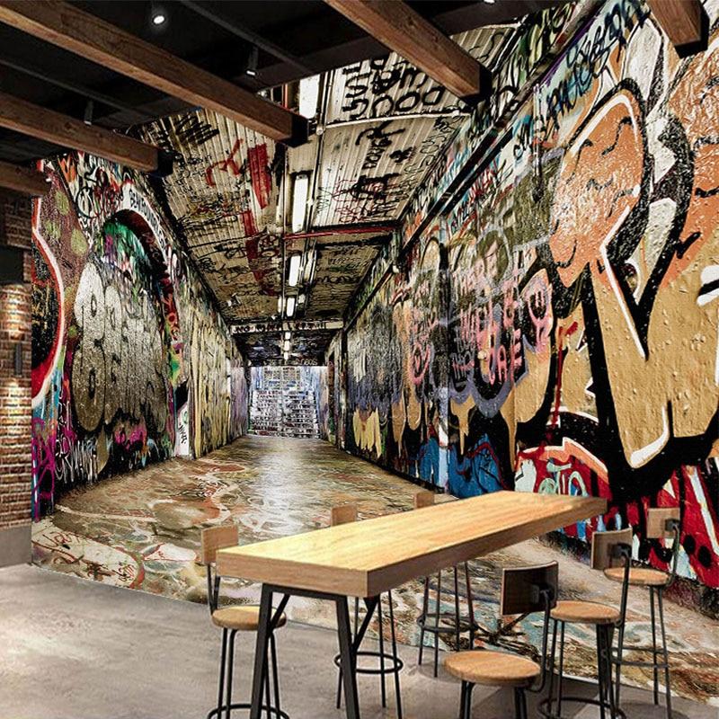 Personalized Customization 3D Street Graffiti Mural Wallpaper Restaurant Bar KTV Background Wall Painting Creative Wall Paper 3D