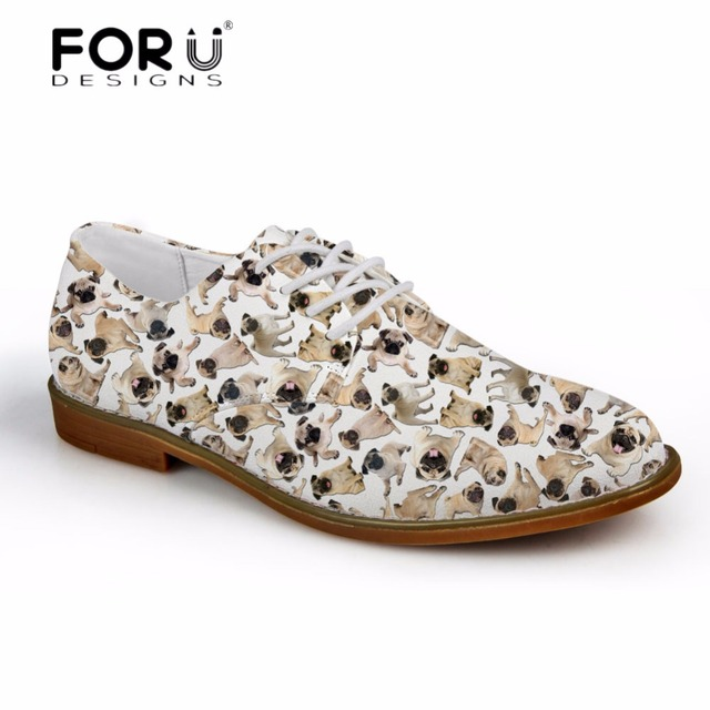 FORUDESIGNS Cute Pet Pug Dog Pattern Men's Fashion Oxfords Shoes High Quality Synthetic Oxfords Shoes for Men Leather Shoes Man