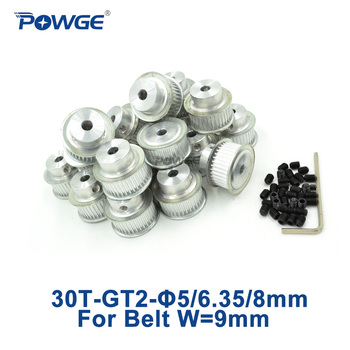 POWGE 30 Teeth 2GT 2M Timing Pulley Bore 5mm 6.35mm 8mm for width 9mm GT2 belt used linear small backlash 30T 30Teeth 50pcs