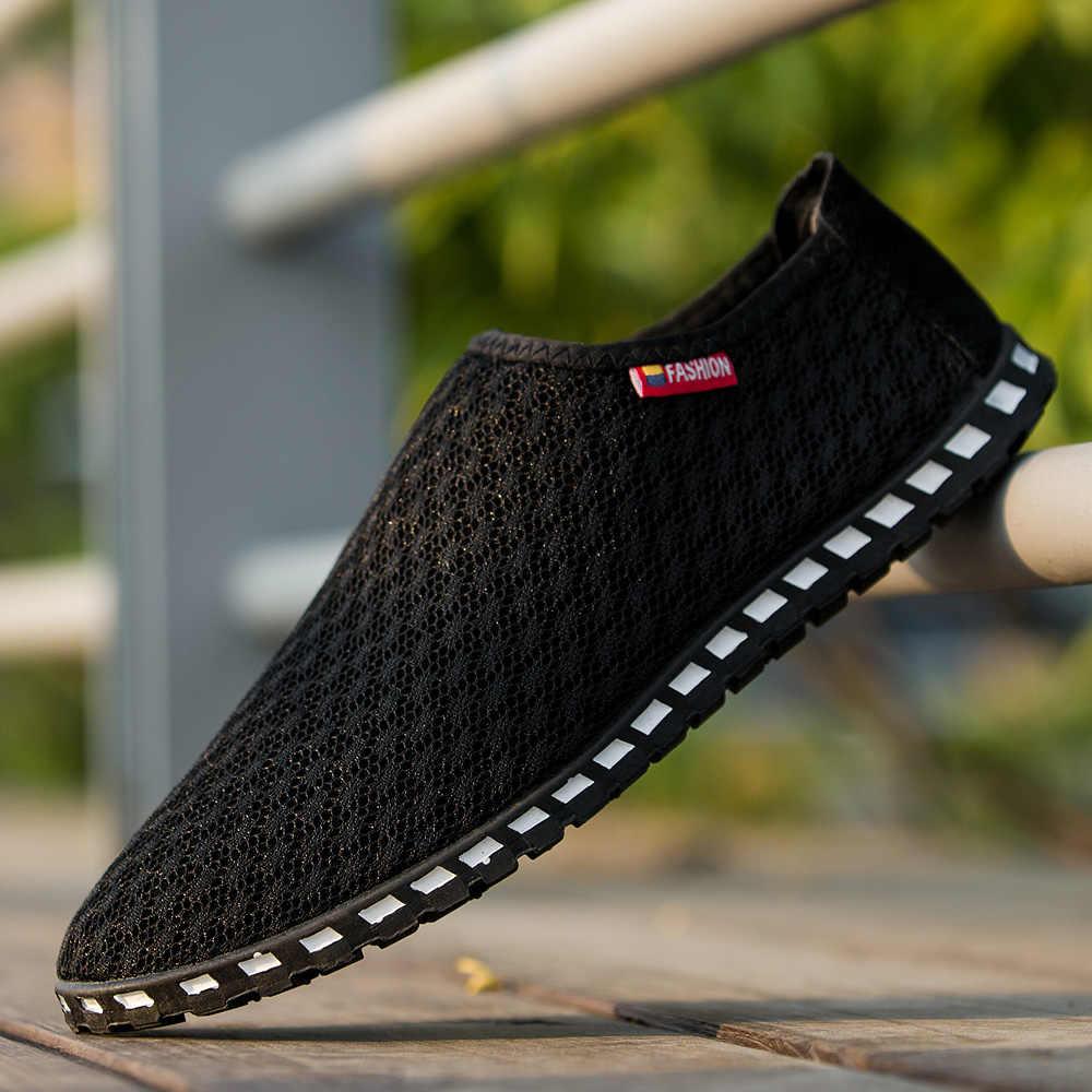 GOXPACER Mùa Hè Người Đàn Ông Giày Thuyền Giày Thường Giày Thời Trang Ánh Sáng Người Đàn Ông Căn Hộ Mạng Lưới Thoáng Khí Giày Người Đàn Ông Cộng Với Kích Thước 39-45 trượt Lazy On
