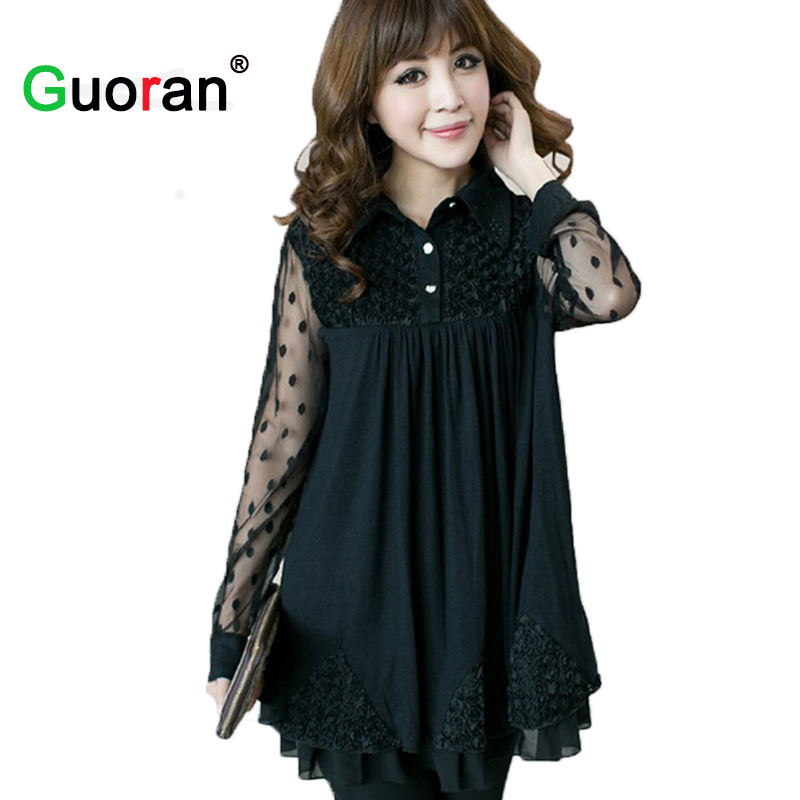 {Guoran} 5XL Plus Size Women Dress Big Size Flower Mesh Long Sleeve Dresses Eleg